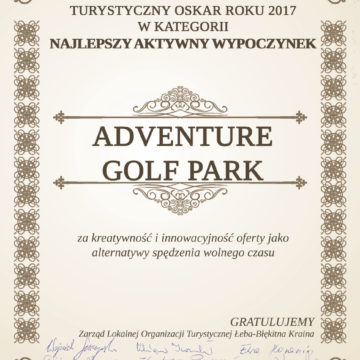 Turystyczny Oskar 2017 w kategorii Najlepszy Aktywny Wypoczynek