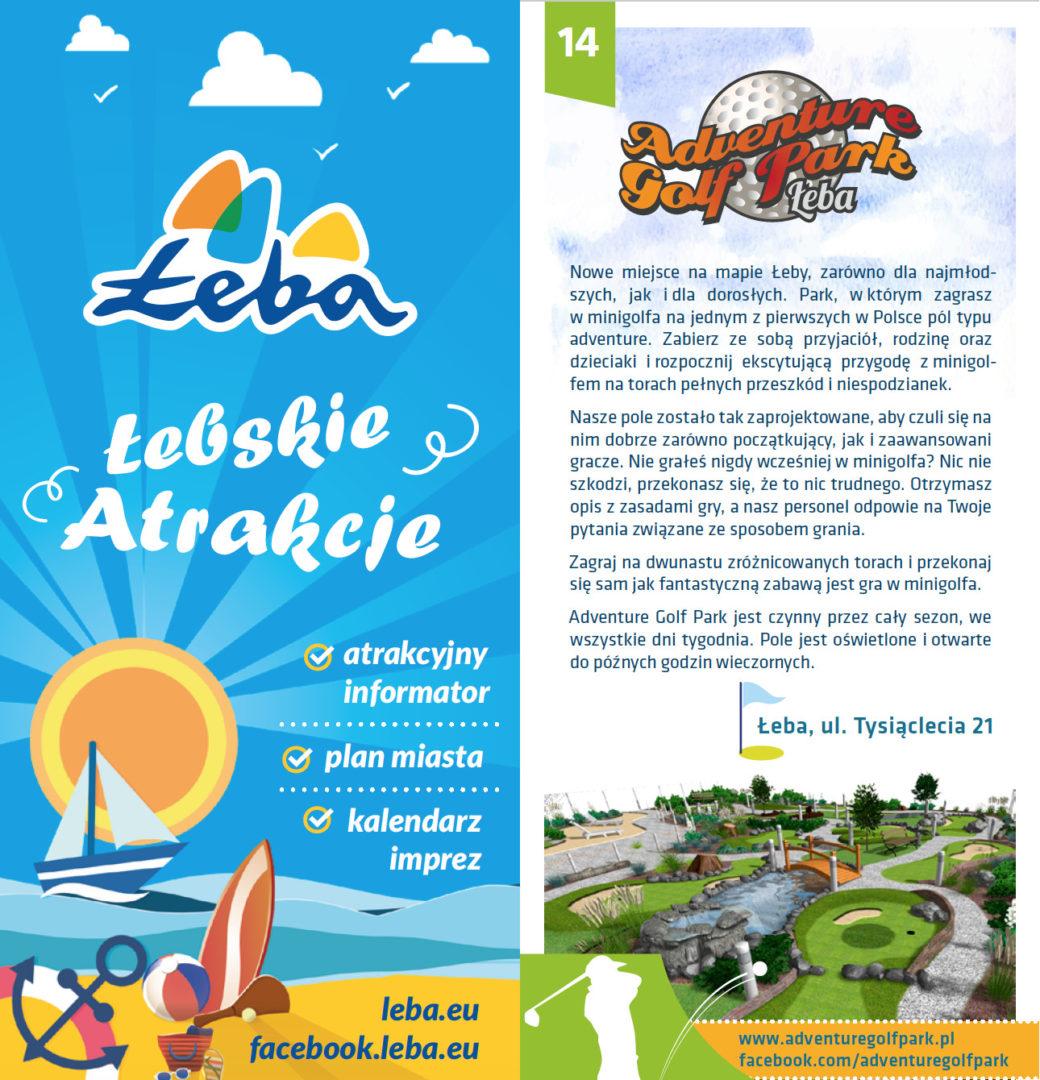 """Informator """"Łebskie Atrakcje"""", a w środku informacje na temat pola do minigolfa w Adventure Golf Park w Łebie."""