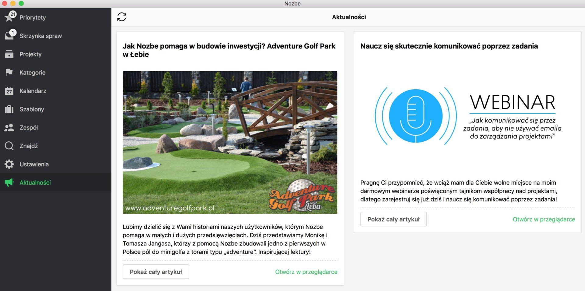 Jak Nozbe pomaga w budowie Adventure Golf Park?